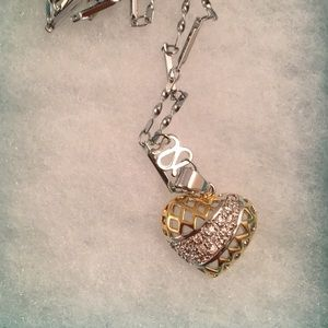 Jewelry - Stunning Gold/Silver Diamond Heart Necklace